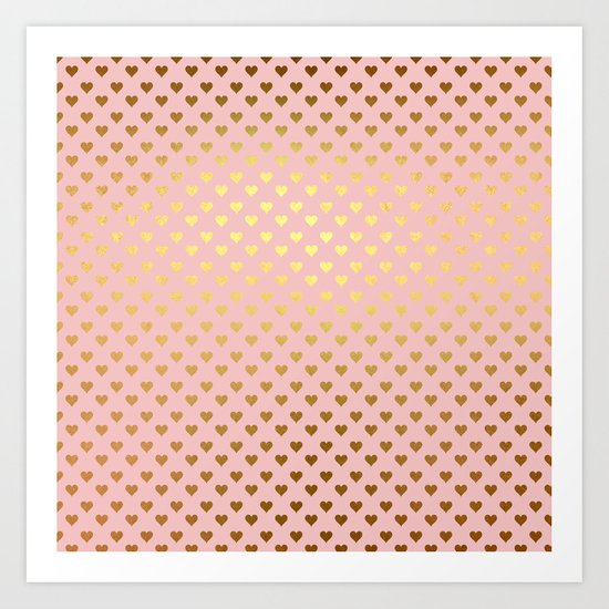 Gold and pink sparkling and shiny Hearts pattern Art Print