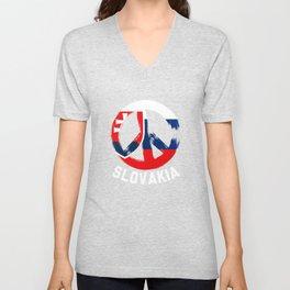 Slovakia Peace Sign Tee Shirt Unisex V-Neck