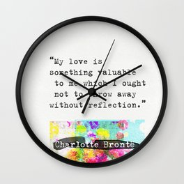 Charlotte Bronte Quotes Wall Clock