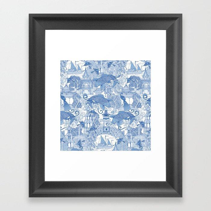 chinoiserie toile blue Gerahmter Kunstdruck