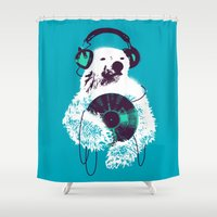 banksy Shower Curtains featuring Record Bear by Picomodi