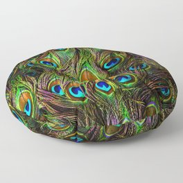 Peacock Feathers Invasion - Wave Floor Pillow