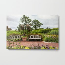 Benches in the Garden Metal Print