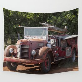 Antique Fire Truck Wall Tapestry