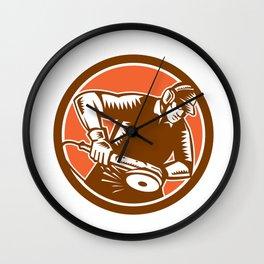 Metalworker Operating Grinder Woodcut Circle Retro Wall Clock