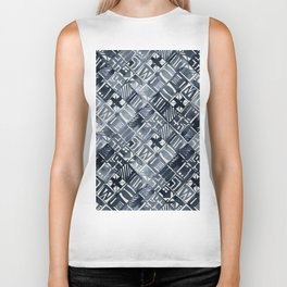 Simply Tribal Tiles in Indigo Blue on Lunar Gray Biker Tank