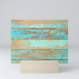 Blue Wood Texture Mini Art Print