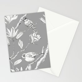 Magnolia flower and birds ink-pen drawing Stationery Cards