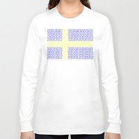 sweden Long Sleeve T-shirts featuring digital Flag (Sweden) by seb mcnulty