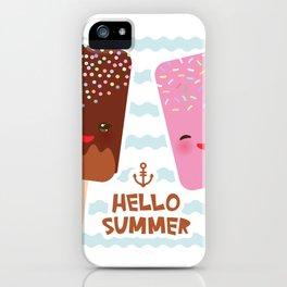 Hello Summer Kawaii ice cream, ice lolly iPhone Case