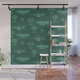Airship Pattern Green Wall Mural