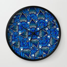 Blue ombre watercolor mermaid mandala boho pattern Wall Clock