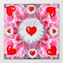 Red Hearts & White Floral Art Canvas Print
