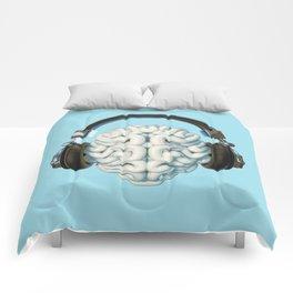 Mind Music Connection /3D render of human brain wearing headphones Comforters
