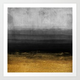 Black and Gold grunge stripes on modern grey concrete abstract background - Stripe -Striped Kunstdrucke