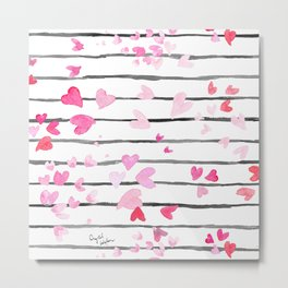 Sweet Heart Sprinkle Stripe Metal Print