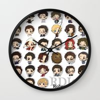 robert downey jr Wall Clocks featuring Robert Downey Jr. by Lady Cibia