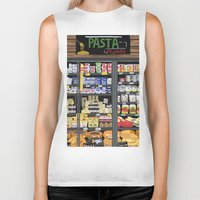 pasta Biker Tanks featuring Pasta Land by Teddy Kang's Art