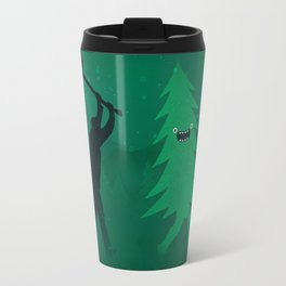 Funny Cartoon Christmas tree is chased by Lumberjack / Run Forrest, Run! Travel Mug