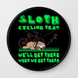 SLOTH CYCLING TEAM Funny Cycling Gift Bicycle Rider Wall Clock