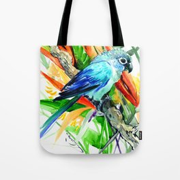 Tropics, Amazon JUngle Parrot and Tropical Foliage Jungle floral design Tote Bag