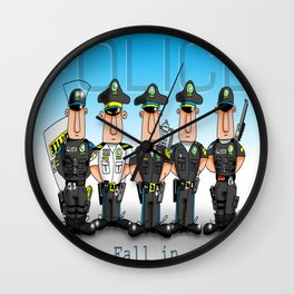 Police Fall in Wall Clock