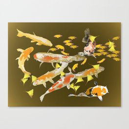 Fall Koi and Golden Ginkgo Leaves Canvas Print