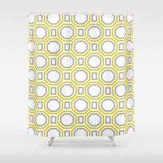 Polygonal pattern - Golden Yellow and Gray Shower Curtain