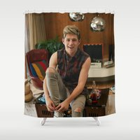 niall horan Shower Curtains featuring Niall Horan by behindthenoise