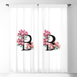 Letter 'B' Begonia Flower Monogram Typography Blackout Curtain