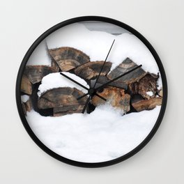 Snow Covered Wood Pile Wall Clock
