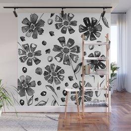 BLACK FLOWERS Wall Mural