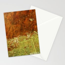 San Francisco North, California vintage map, year 1947,usa old maps Stationery Cards