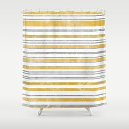 Sun Kissed Stripes: Silver and Gold Shower Curtain