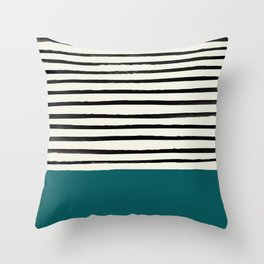 Dark Turquoise & Stripes Throw Pillow