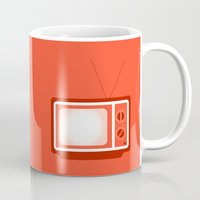 tv Mugs featuring television by brittcorry