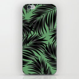 Palm Tree Fronds Black on Rainforest Green Hawaii Tropical Decor iPhone Skin