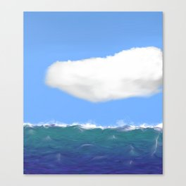 Unsettled Waves and a calm cloud Canvas Print