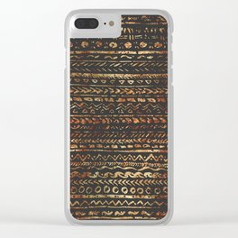 Modern Dark Brown Copper Tribal Ethnic Pattern Clear iPhone Case