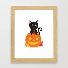 Halloween Black Cat Framed Art Print
