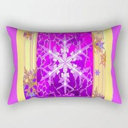 Fuchsia Purple Cream color Snowflake Fantasy Art Rectangular Pillow