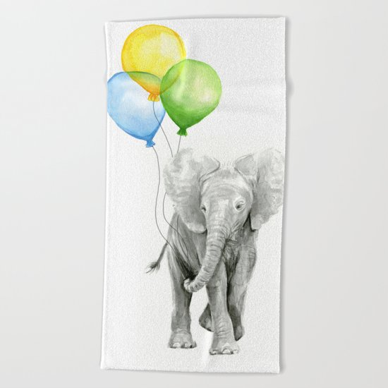 Elephant Watercolor Baby Animal with Balloons - Blue Yellow Green Beach Towel