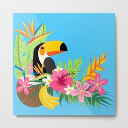 Tropical Toucan Island Coconut Flowers Fruit Blue Background Metal Print