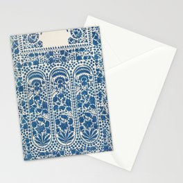 Indian scarf end embroidered at Dacca on white muslin Stationery Cards