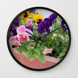 Pretty Colorful Pansies Wall Clock