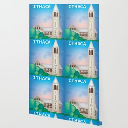 Ithaca, New York - Skyline Illustration by Loose Petals Wallpaper