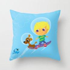 hover boarding future boy Throw Pillow