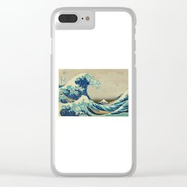 The Great Wave Off Kanagawa with Mount Fuji in the background Clear iPhone Case