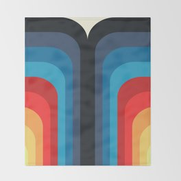 Retro Rainbow 01 Throw Blanket
