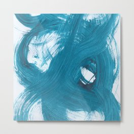 Fuzzy, Abstract, Blue Duck Metal Print